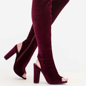 Shoes - Thigh High High Heel Boots suede wine fashion